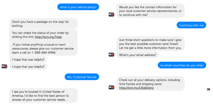T Hilfiger chatbot screenshot