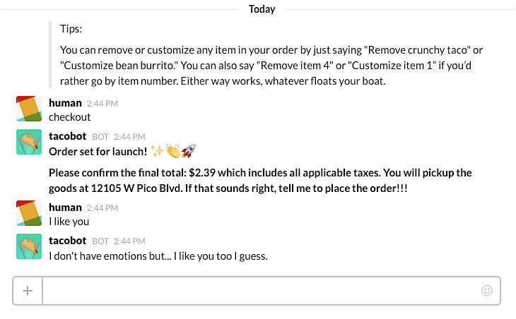 Taco chatbot