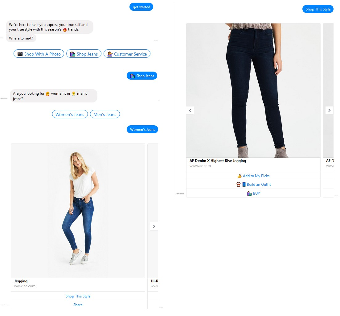 Chatbot shopping screenshot