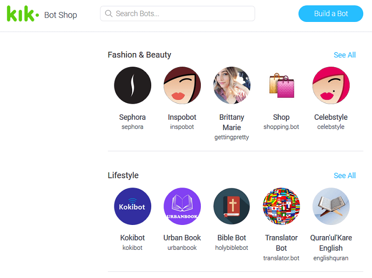 KIK Bot Shop screenshot
