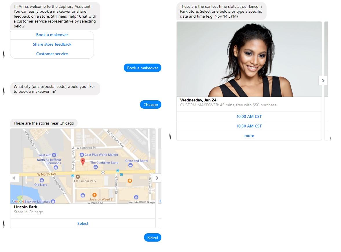 Sephora chatbot screenshot