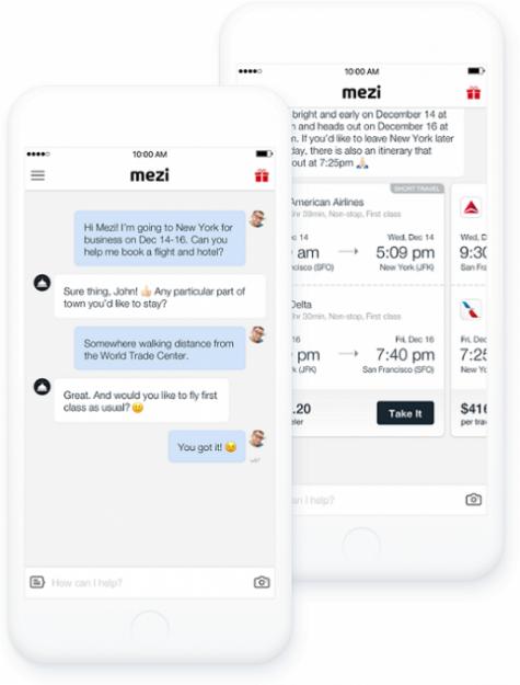 Mezi chatbot screenshot