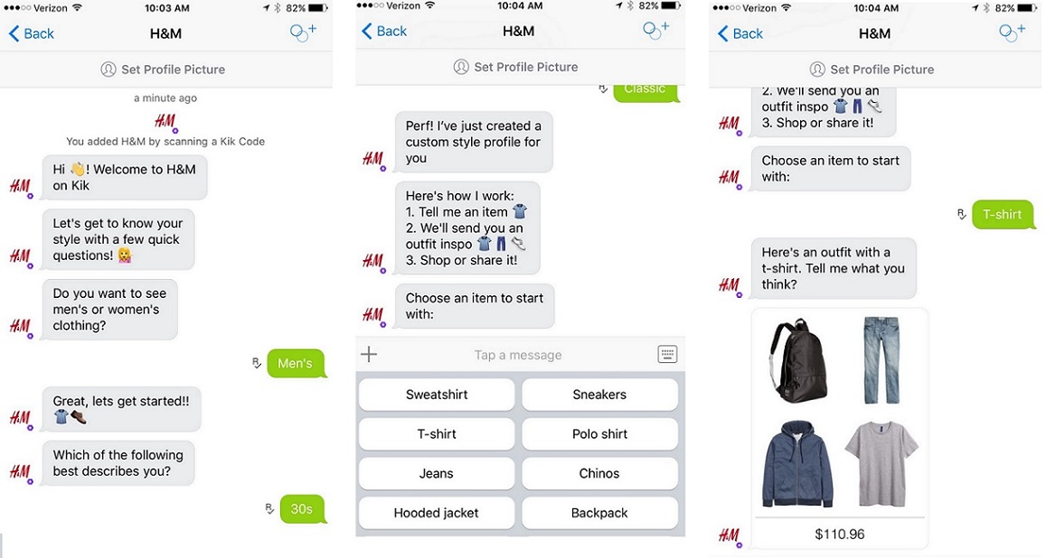 h-and-m chatbot screenshot
