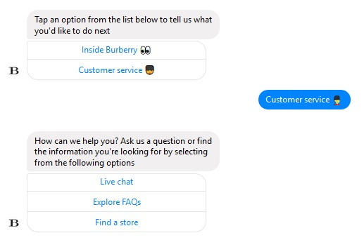 chatbot development burberry