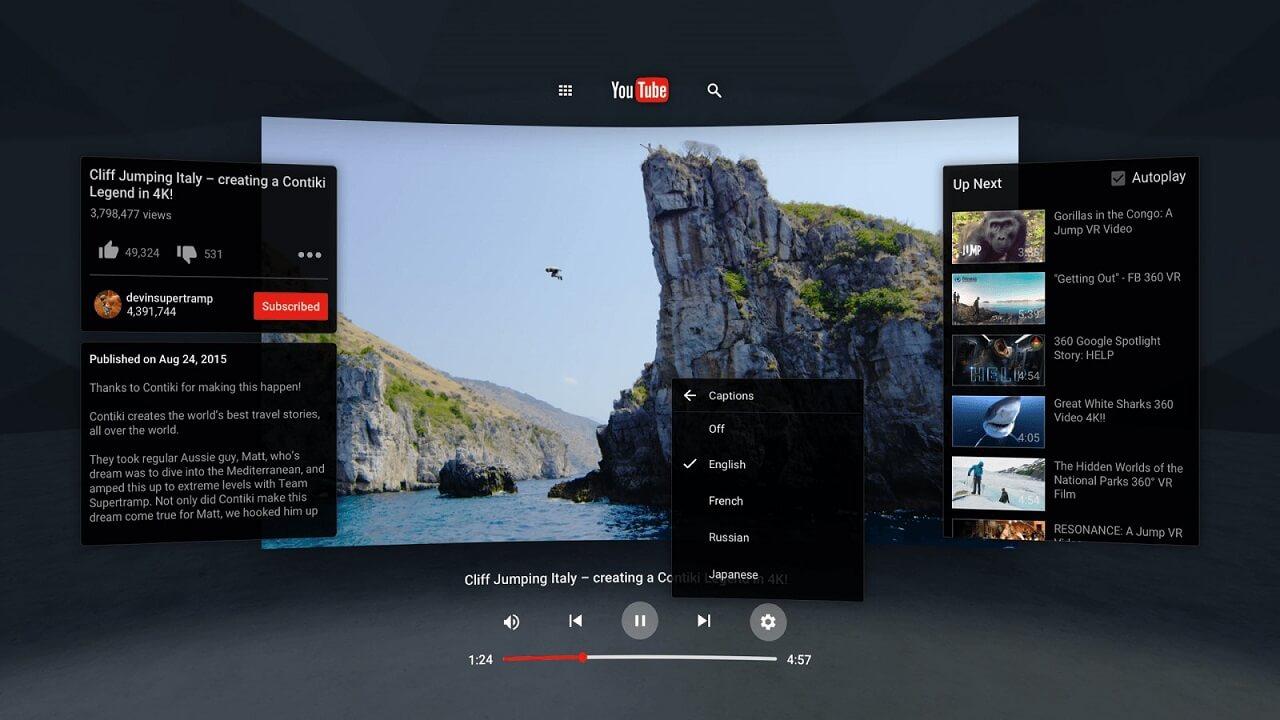 virtual reality applications youtube