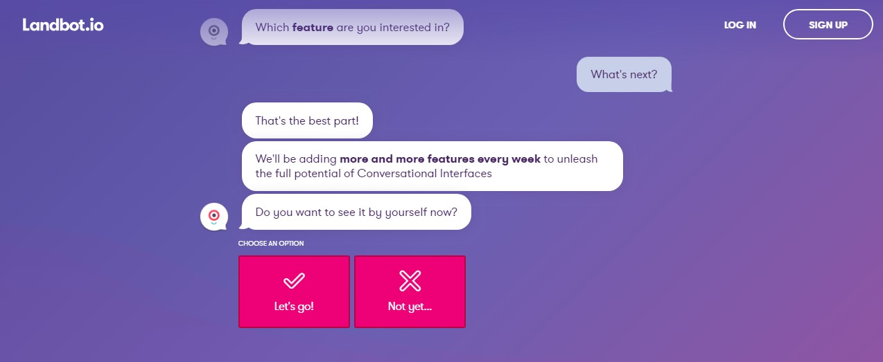 chatbot landbot screenshot