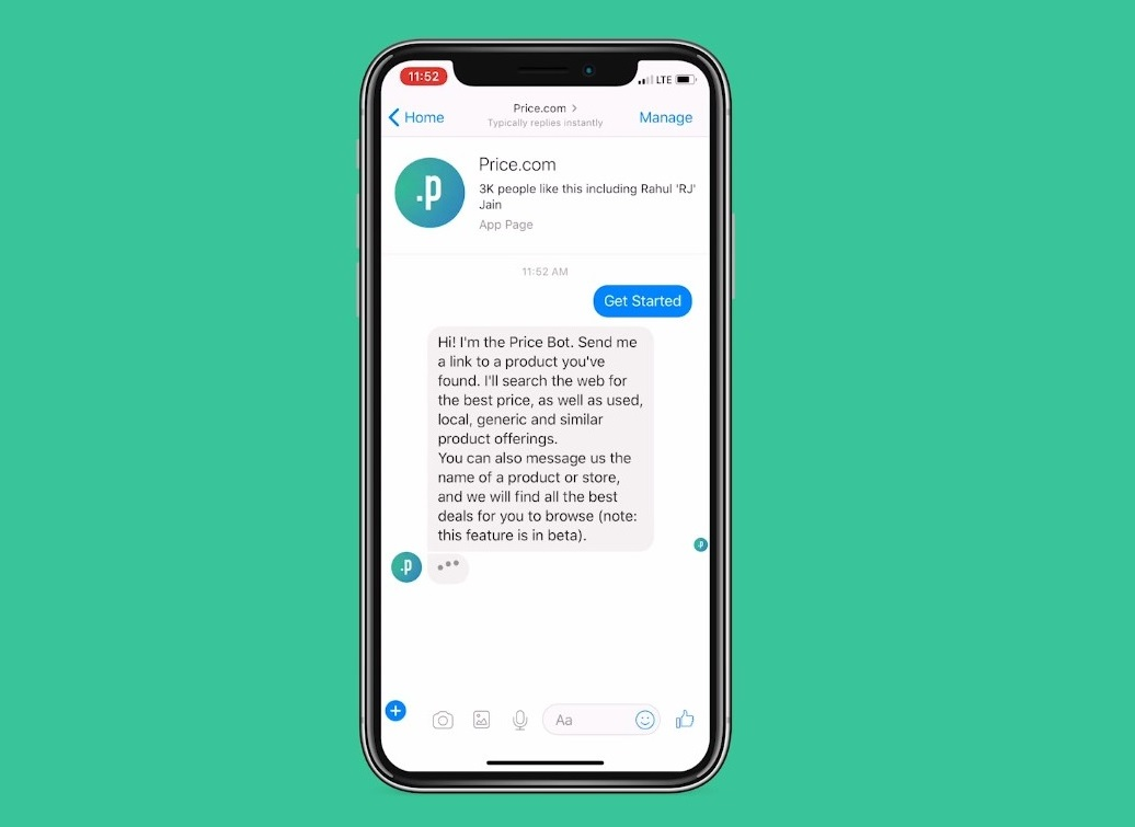 messenger chatbot price screenshot