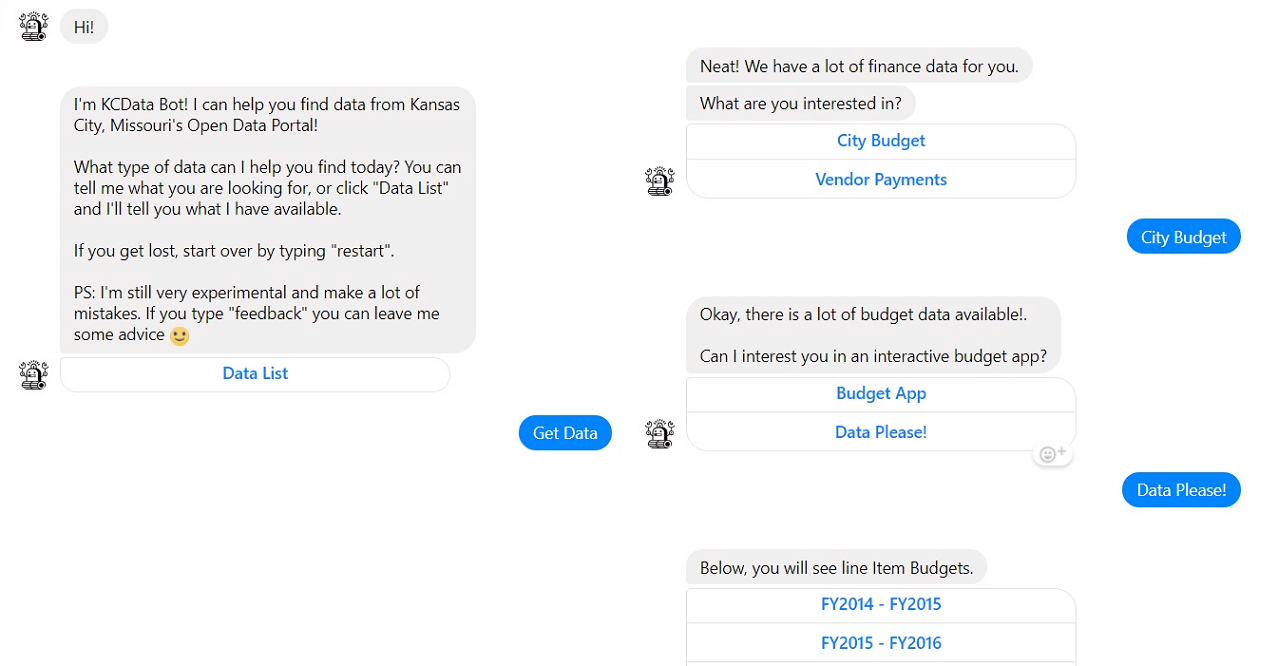 online chatbot KCData screenshot