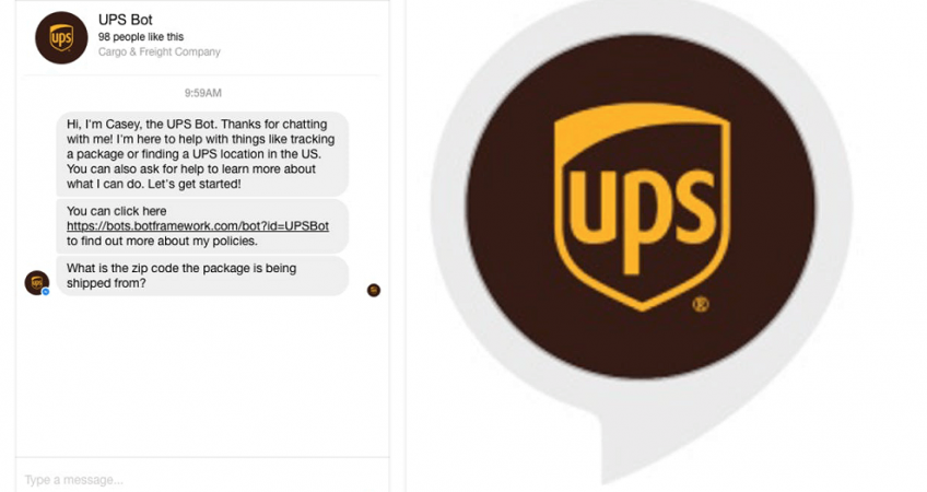chatbot develop ups screenshot