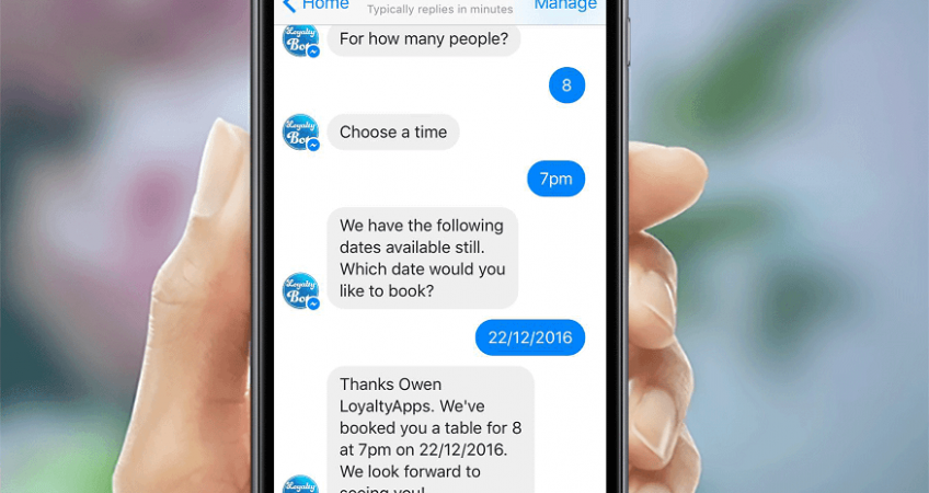 Chatbot booking screenshot